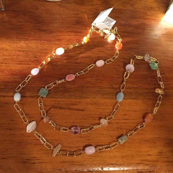 Multi Agate Necklace with Gold Links