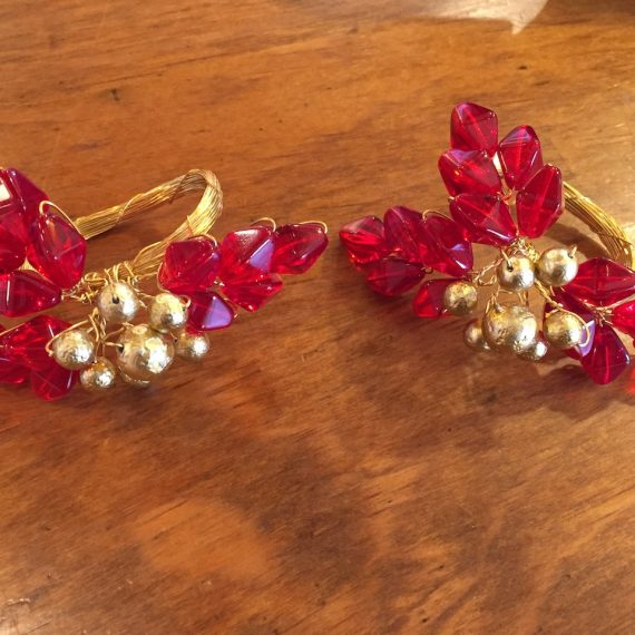 Red & Gold Holly Napkin Rings